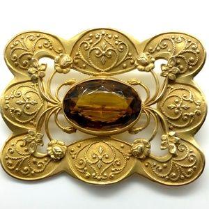 Victorian Gold Gilt on Brass Sash Pin Art Nouveau